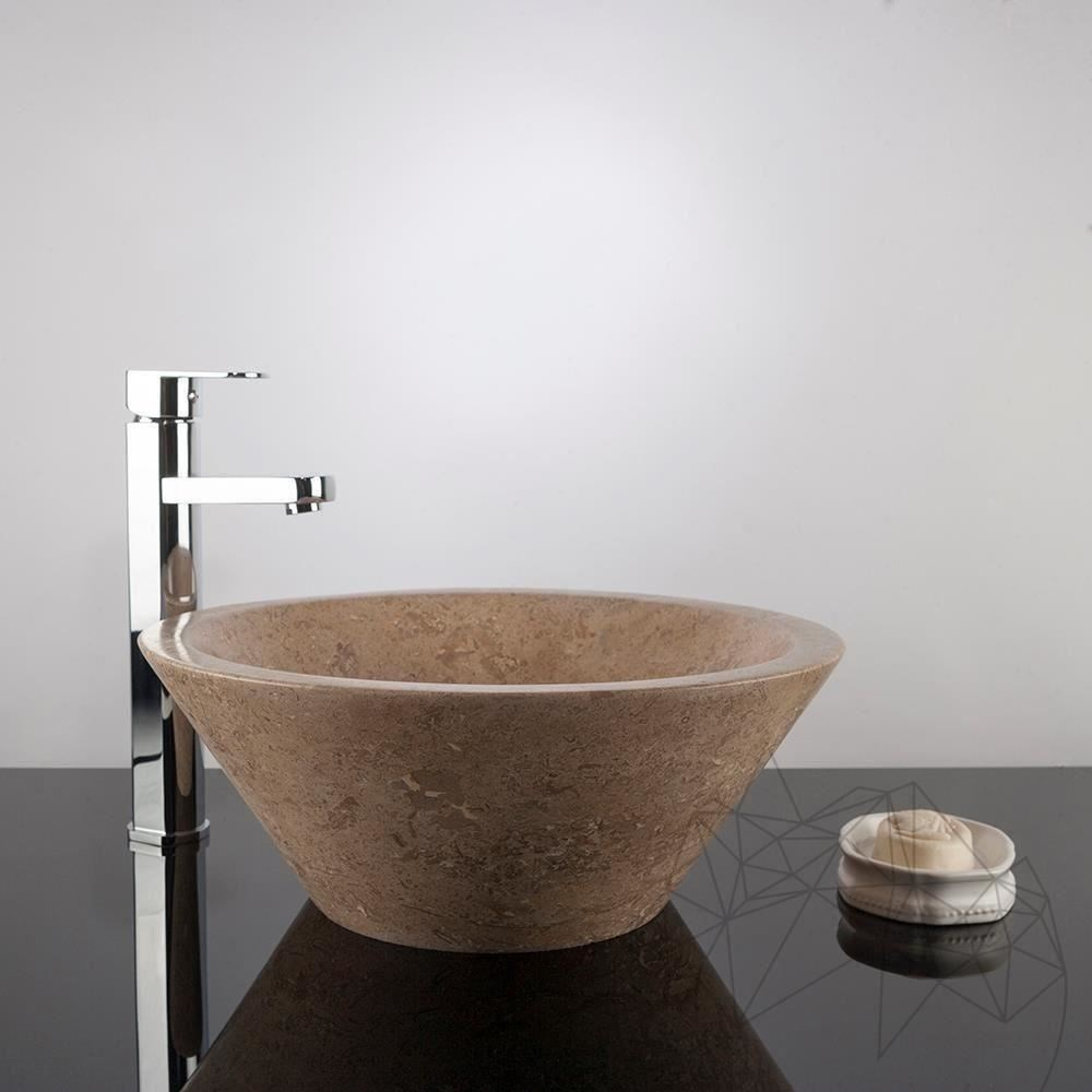 Bathroom Sink - Latte Travertine RS-8, 41.5 x 14.5 cm