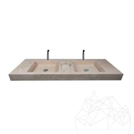 Bathroom Sink - Classic Travertine KS-028 SEKO5 - 140 x 50 x 10 cm