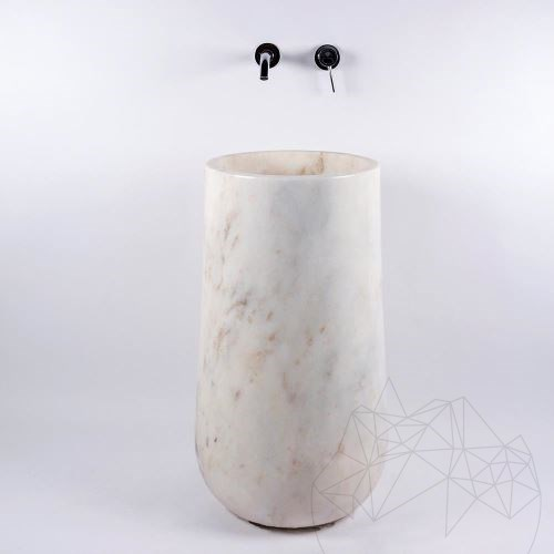 Bathroom sink - Signature Afyon White Marble 40 x 85 cm