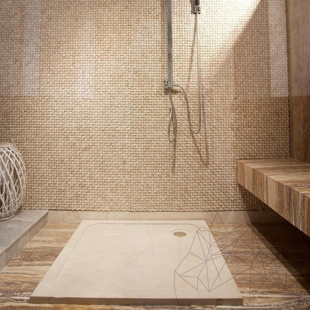 Shower Tray - Classic Travertine ST-012 SBSS - 90 x 90 cm x 3 cm