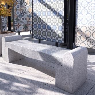 Rock Star Grey Granite Garden Bench (165 x 40 x 50 cm)