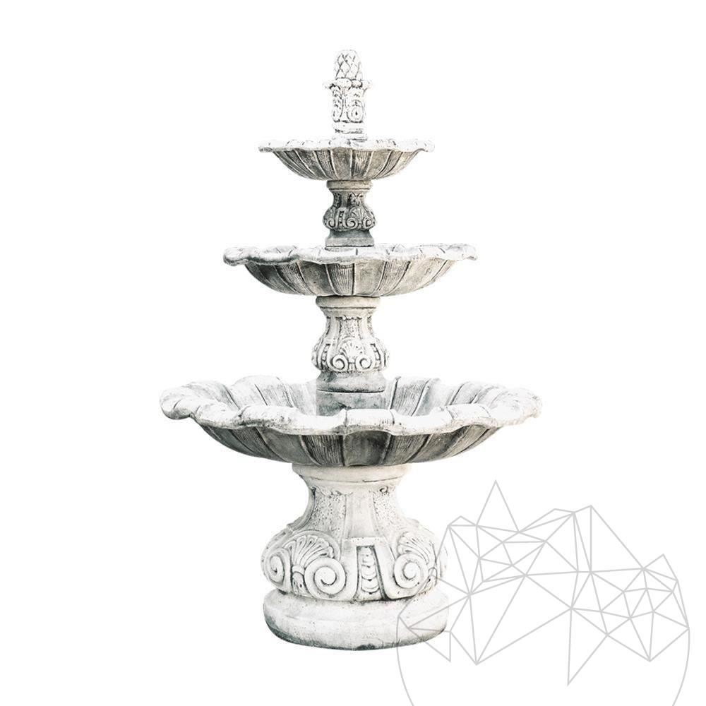 Fontana Briona F 18 - Garden Water Fountain H: 1.95 cm, D: 1.20 cm, 420 KG (Grey Antique)