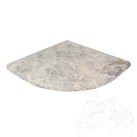 Tundra Marble bathroom single shelf / shower shelves 30 x 30 x 2 cm (half round edge)