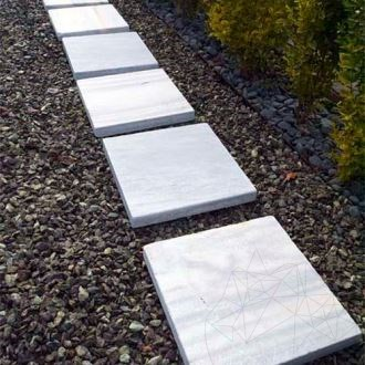 Kavala Cross Cut Tumbled Marble 40 x 40 x 4.5 cm (Patio tiles / japanese garden steps)