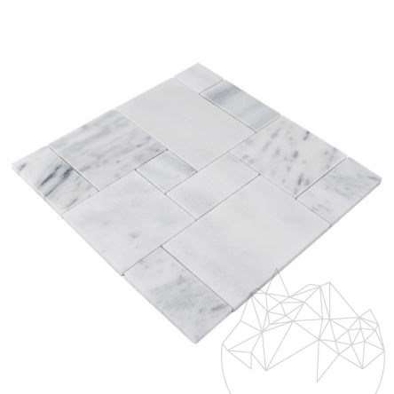 Kavala Marble Polished French Pattern Set Mosaic 1 cm