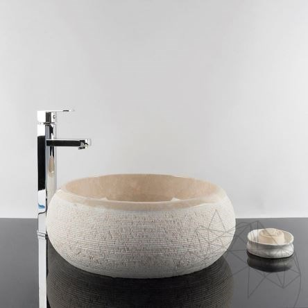 Bathroom Sink - Light Beige Marble RS-24, 41 x 33.5 x 15 cm