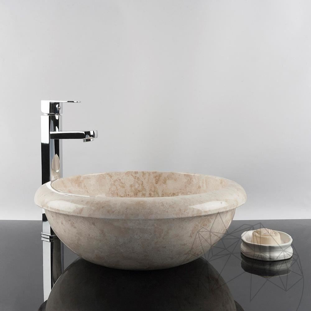 Bathroom Sink - Cappuccino Marble RS-19, 42 x 15 cm title=Bathroom Sink - Cappuccino Marble RS-19, 42 x 15 cm