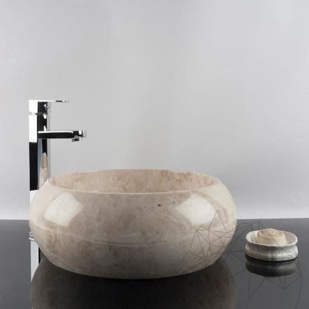 Bathroom Sink - Cappuccino Marble RS-21, 41 x 33.5 x 16 cm