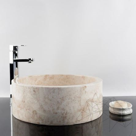 Bathroom Sink - Cappuccino Marble RS-22, 42 x 15 cm