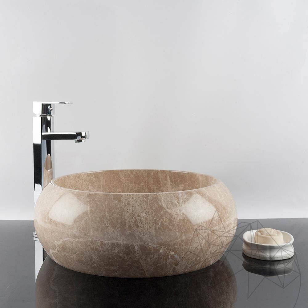 Bathroom Sink - Light Emperador Marble RS-21, 41 x 33.5 x 15 cm title=Bathroom Sink - Light Emperador Marble RS-21, 41 x 33.5 x 15 cm