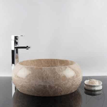 Bathroom Sink - Light Emperador Marble RS-21, 41 x 33.5 x 15 cm