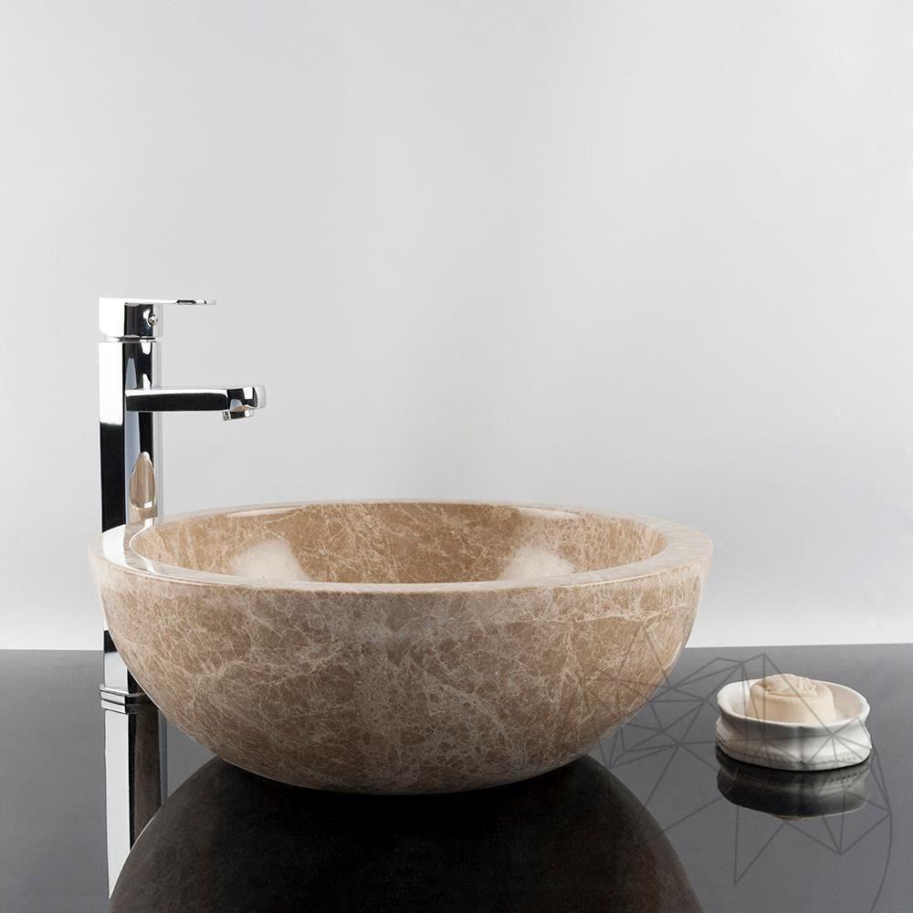Bathroom Sink - Light Emperador Marble RS-5, 42 x 15 cm