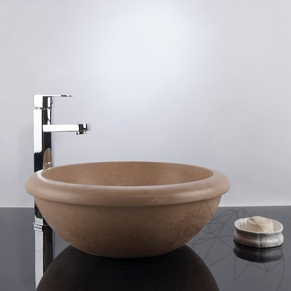 Bathroom Sink - Latte Travertine RS-19, 42 x 15.5 cm