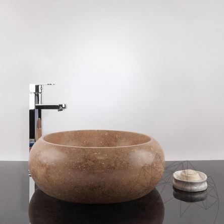 Bathroom Sink - Latte Travertine RS-21, 41 x 34 x 15 cm