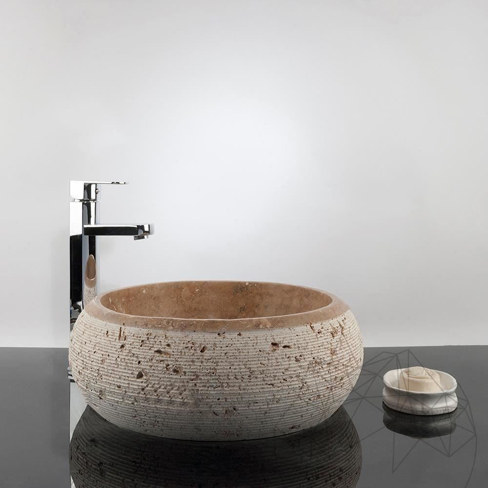 Bathroom Sink - Latte Travertine RS-24, 41.5 x 37 x 15 cm title=Bathroom Sink - Latte Travertine RS-24, 41.5 x 37 x 15 cm