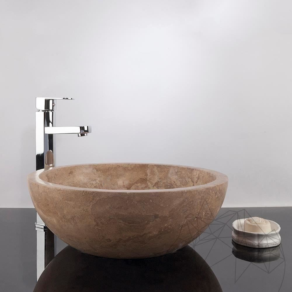 Bathroom Sink - Latte Travertine RS-5, 42 x 15 cm title=Bathroom Sink - Latte Travertine RS-5, 42 x 15 cm