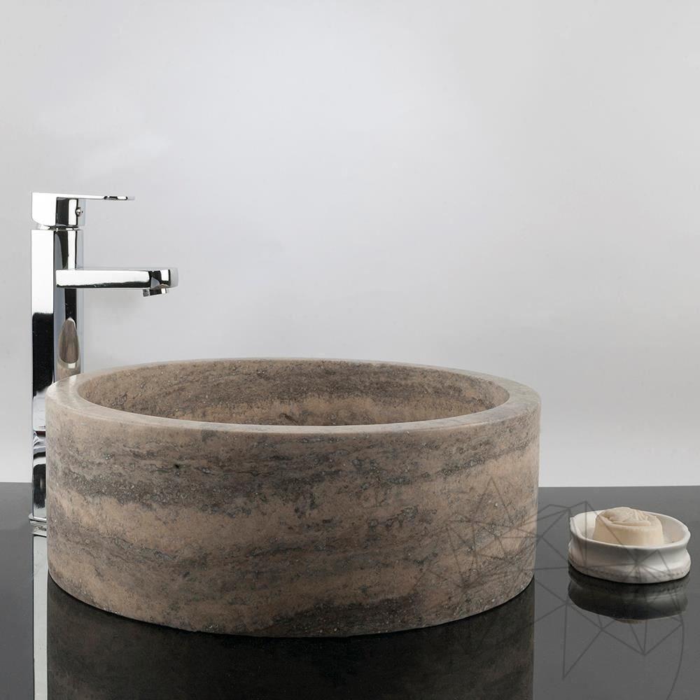 Bathroom Sink - Silver Travertine RS-22, 42 x 15 cm