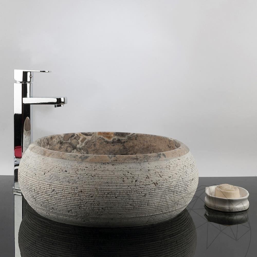 Bathroom Sink - Silver Travertine RS-24, 41 x 34.5 x 15.5 cm title=Bathroom Sink - Silver Travertine RS-24, 41 x 34.5 x 15.5 cm