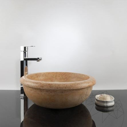 Bathroom Sink - Yellow Travertine RS-19, 41.5 x 15 cm
