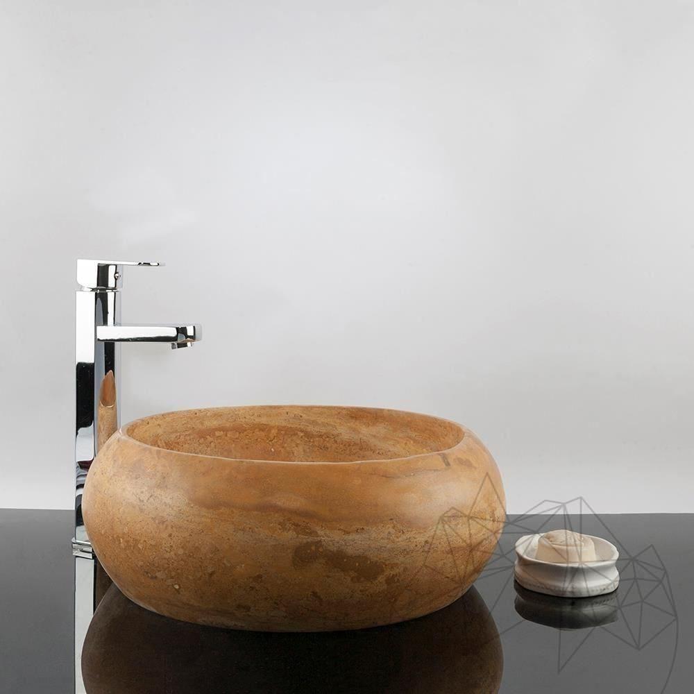 Bathroom Sink - Yellow Travertine RS-21, 41 x 34.5 x 15 cm title=Bathroom Sink - Yellow Travertine RS-21, 41 x 34.5 x 15 cm