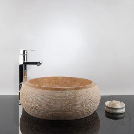 Bathroom Sink - Yellow Travertine RS-24, 41 x 33.5 x 15 cm