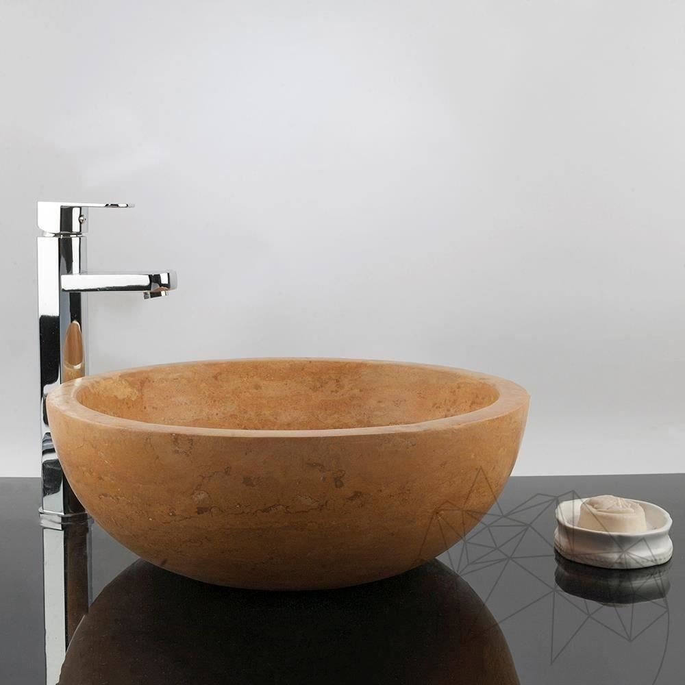 Bathroom Sink - Yellow Travertine RS-5, 42 x 15 cm title=Bathroom Sink - Yellow Travertine RS-5, 42 x 15 cm