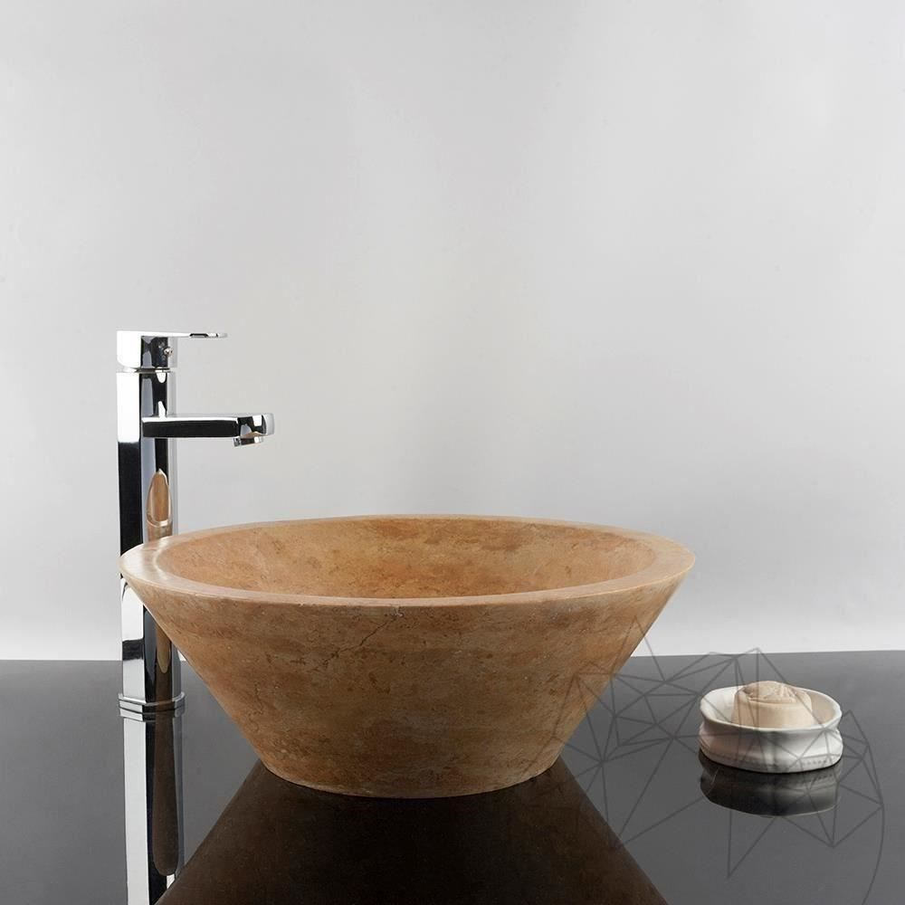 Bathroom Sink - Yellow Travertine RS-8, 41.5 x 15 cm