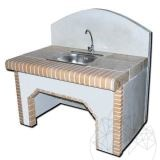 Barbeque Table + Washbasin (stainless steel) Harmony