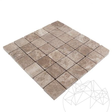 Light Emperador Marble Tumbled Mosaic 4.8 x 4.8 cm