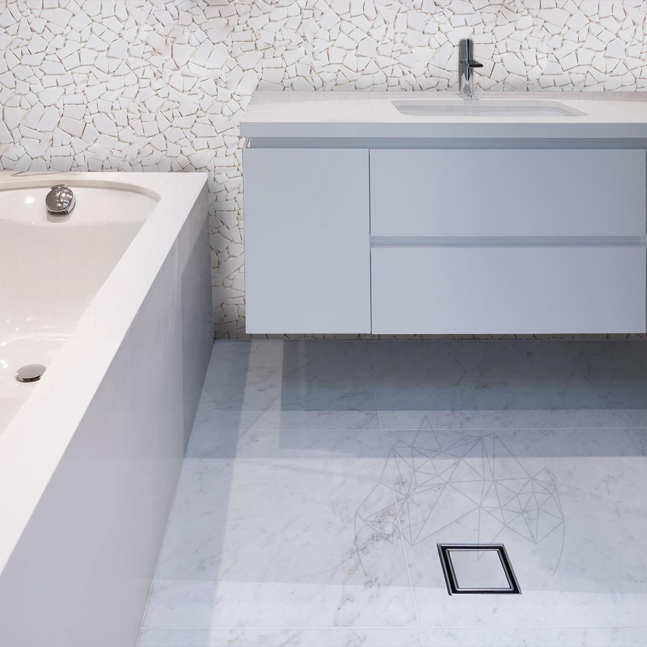 Thassos Marble Tumbled Crazy Paving Marble Mosaic