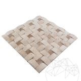 Classic & Latte Travertine Tumbled 3D Konkav Mosaic