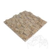 Noce Travertine Splitface 3D Mosaic 2.5 x 2.5 cm