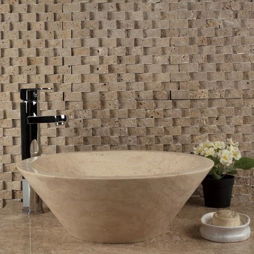 Noce Travertine Splitface Siding Mosaic 2.3 x 4.8 cm - Stock Clearance