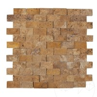 Yellow Travertine Splitface Mosaic 2.5 x 5 cm