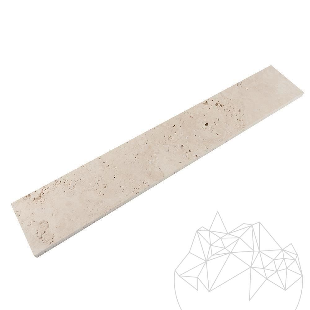 Classic Cross Cut Travertine Brushed Plinth 8 x 61 x 1.2 cm