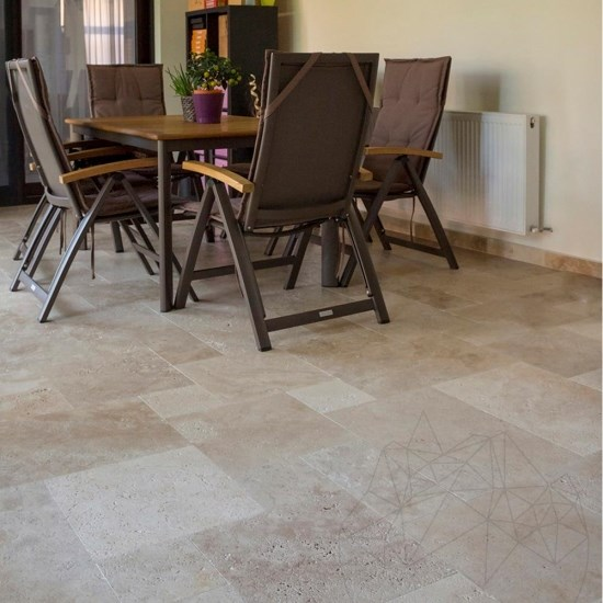 Classic Cross Cut Brushed Travertine French Pattern Set 1.2 cm