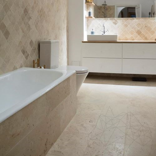 Classic Cross Cut Brushed Travertine 61 x 30.5 x 1.2 cm