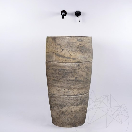 Bathroom Sink - Silver Travertine SP-26, 42 x 82 cm
