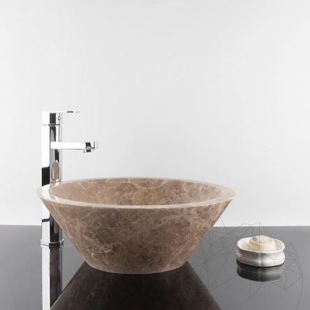 Bathroom Sink - Light Emperador Marble RS-8, 42 x 15 cm