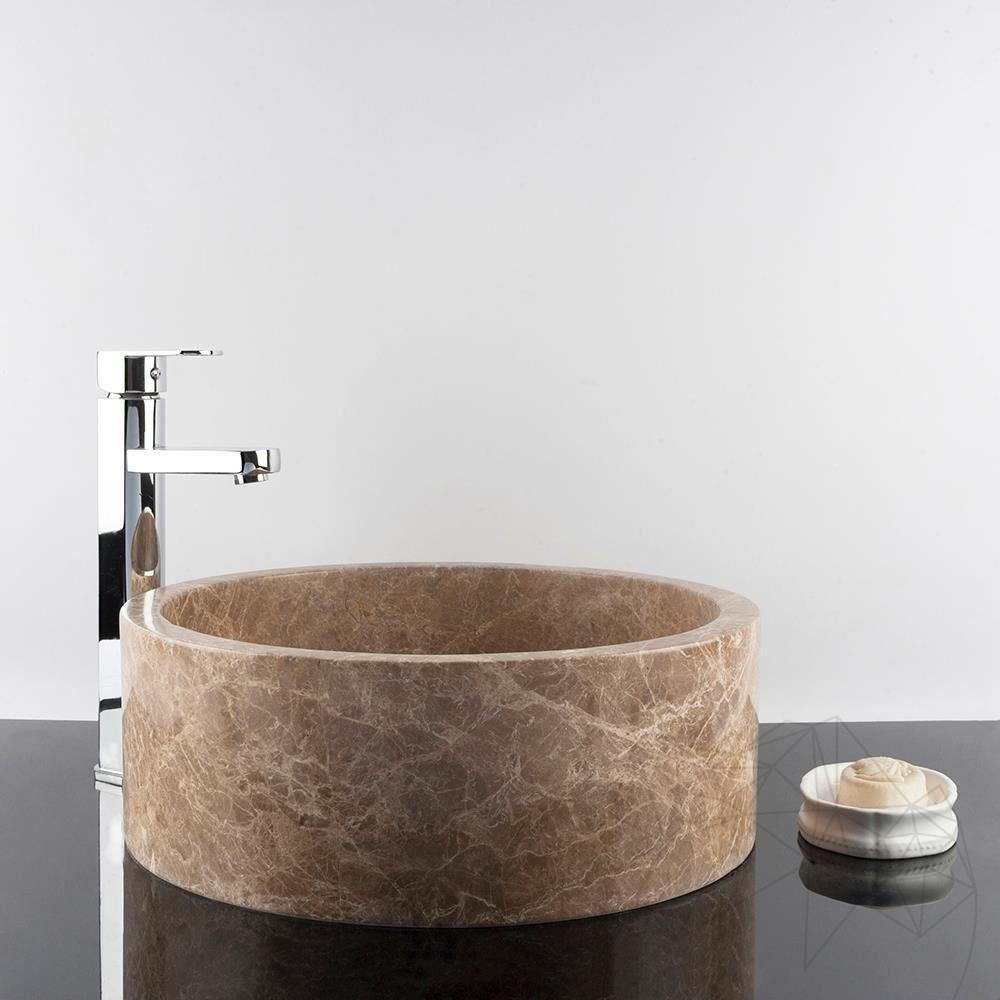Bathroom Sink - Light Emperador Marble RS-22, 42 x 15 cm