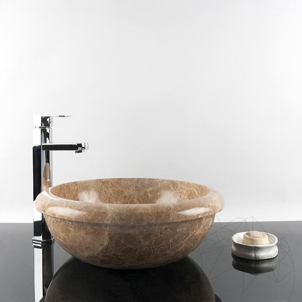 Bathroom Sink - Light Emperador Marble RS-19, 42 x 15 cm title=Bathroom Sink - Light Emperador Marble RS-19, 42 x 15 cm