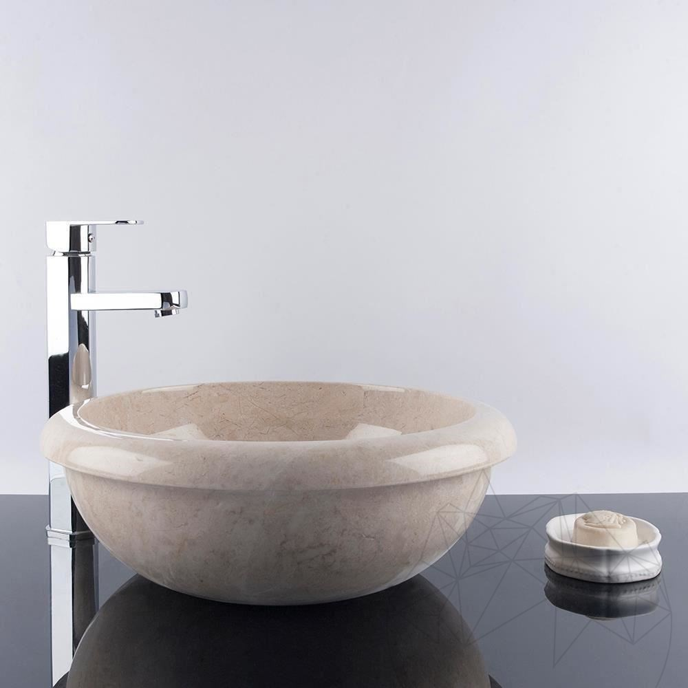Bathroom Sink - Light Beige Marble RS-19, 42 x 15 cm title=Bathroom Sink - Light Beige Marble RS-19, 42 x 15 cm