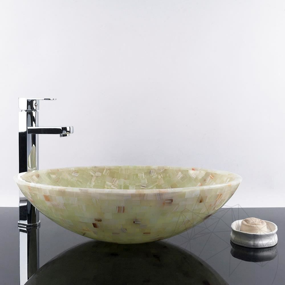 Bathroom Sink - Mosaic Onyx Green SB-22, 50 x 36 x 14 cm title=Bathroom Sink - Mosaic Onyx Green SB-22, 50 x 36 x 14 cm