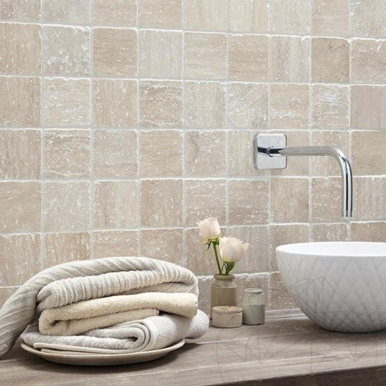 Classic Travertine Multicolour Tumbled Mosaic 4.8 x 4.8 cm
