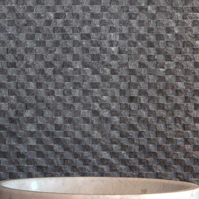 Black Marble Splitface Oval Mosaic 1.8 x 5 cm