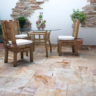 Scabas Cross Cut Brushed & Chiseled Travertine French Pattern Set 1.2 cm - Stock Clearance