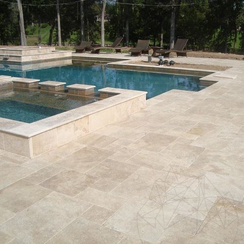 Classic Cross Cut Brushed  Travertine French Pattern Set 3 cm