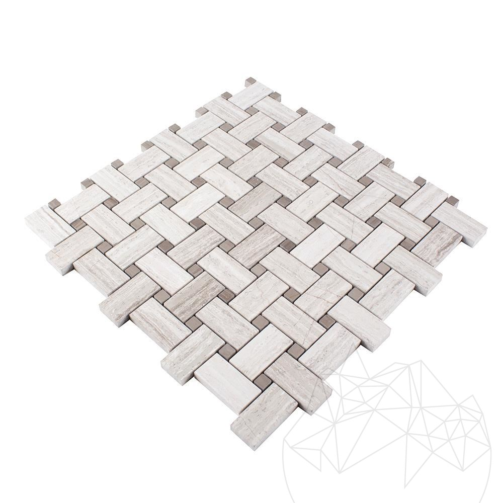 Basket Weave Athena Grey & White Wood Marble Polished Mosaic