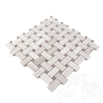 Athena Grey & White Wood Marble Polished Basket Weave Mosaic