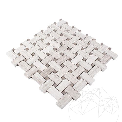 Basket Weave Athena Grey & White Wood Marble Polished Mosaic